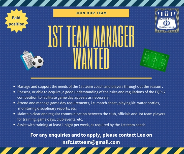 1st team manager  Wanted ( 2)