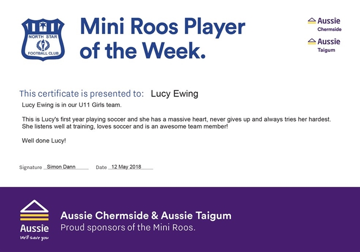 2018  Miniroos  Player of the  Week  Certificate - 12  May 2018