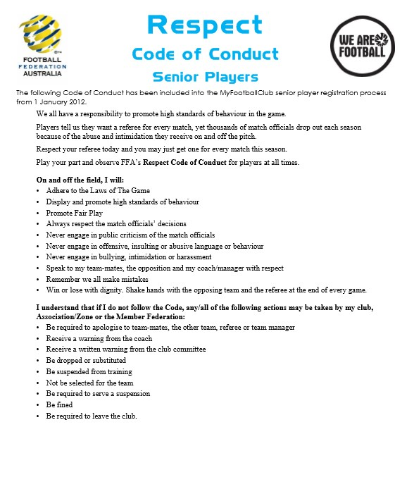 Codes of  Conduct -  Seniors