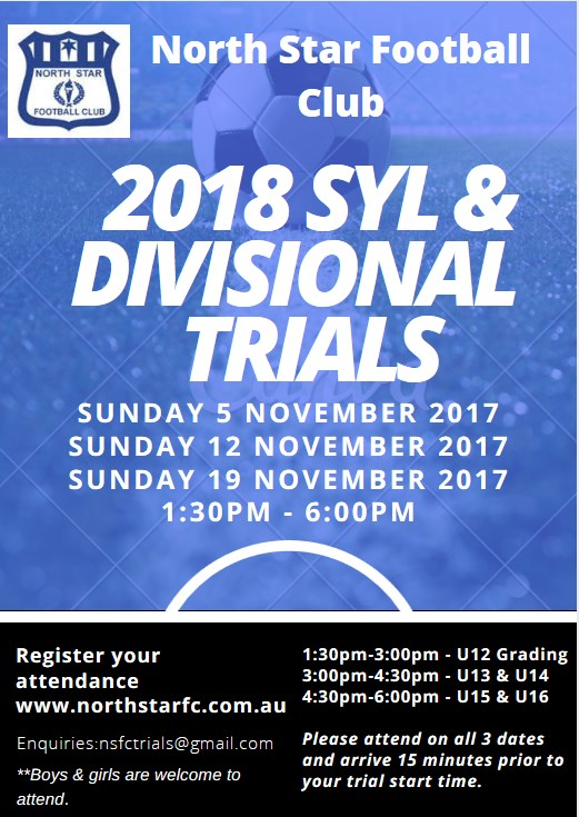 2018 SYL  Divisional  Trials  Flyer