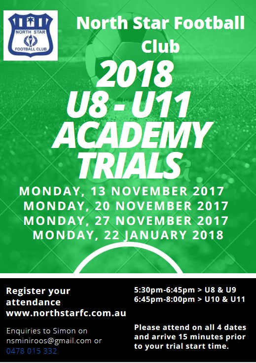 2018 U8- U11  Academy  Trials  Flyer